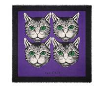 Halstuch aus Modal und Seide mit Mystic Cat-Print