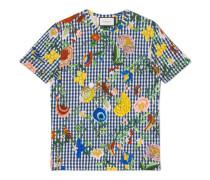 T-Shirt aus kariertem Leinen mit Blumenmuster