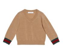 Baby Pullover aus Merinowolle mit V-Ausschnitt und Webstreifen