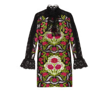 Kleid aus Brokat mit Blumenmotiv und Spitze