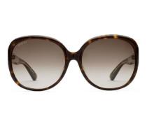 Extragroße Sonnenbrille mit rundem Rahmen aus Azetat und Metall