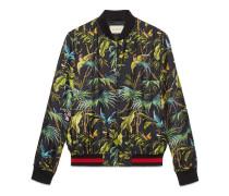 Jacke aus Seide mit Tropical-Print