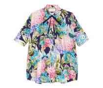 Cape-Shirt aus Seide mit Hortensien-Print