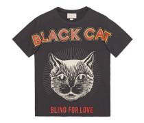 T-Shirt mit Schwarze Katze-Print