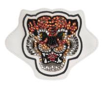Applikation aus Leder mit Tiger-Stickerei