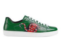 Sneaker aus Leder mit Webdetail und Schlange