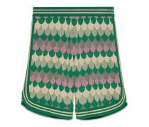 Shorts aus Wolle und Wellen-Jacquard aus Lurex