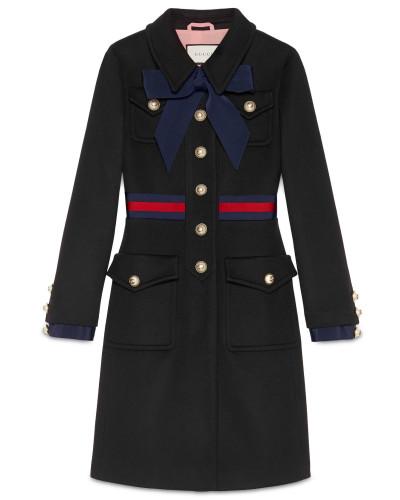 Mantel aus Wolle mit Webstreifen