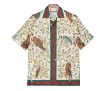 Bowling-Shirt aus Seidensablé mit Raubvogel-Print