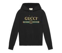Pullover aus Baumwolle mit Gucci Glitzer-Logo und Stickerei