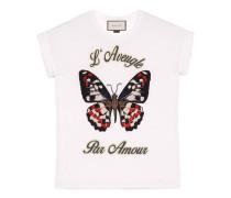 T-Shirt aus Baumwolle mit handgesticktem Schmetterling
