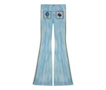 Hose aus Denim mit Stickerei und Nieten