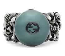 Strukturierter Ring mit schwarzer Glasperle