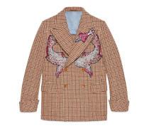 Jacke mit Hahnentrittmuster und Stickerei
