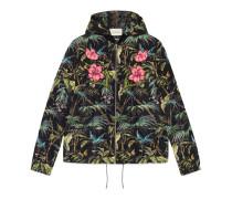 Jacke aus Nylon mit Tropical-Print