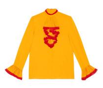 Hemd aus Seiden-Georgette und Spitze