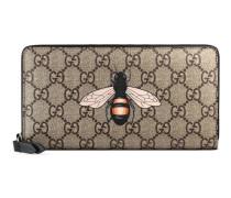 Brieftasche mit Rundumreißverschluss aus GG Supreme mit Bienenprint