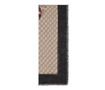 Schal aus Wolle mit Webdetail und Königsnatter-Print