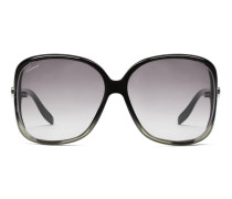 Dunkelbraune eckige Sonnenbrille