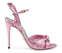 Sandale aus metallischem Leder mit Knoten
