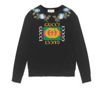 Pullover aus Baumwolle mit Gucci Logo und Blumen