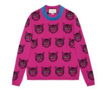 Pullover aus Wolle-Kaschmir-Strick mit Mystic Cat-Motiv