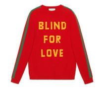 """Pullover aus Wolle mit """"Blind for Love"""" und Biene"""