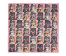 Halstuch aus Wolle und Seide mit Tigergesicht-Print