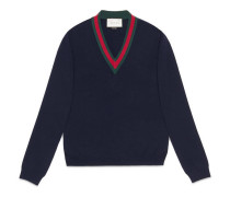Wool v-neck sweater with Web