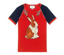 Raglan-T-Shirt mit Kaninchen-Applikation