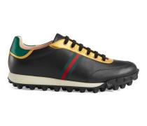 Sneaker aus Leder mit Webstreifen