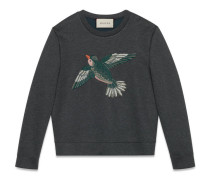 Sweatshirt mit Vogel -Applikation