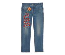 Jeans mit abgeschrägtem Bein aus Baumwolle mit Königsnatter-Stickerei