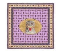 Vierecktuch aus Seide mit Tigergesicht-Print