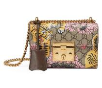 Schultertasche mit Gucci Bengal-Print und Vorhängeschloss