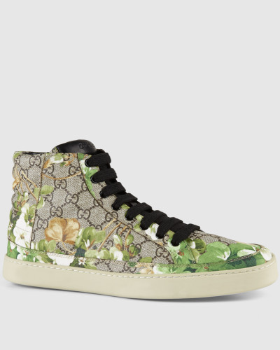 gucci herren hoher sneaker mit blooms druck reduziert. Black Bedroom Furniture Sets. Home Design Ideas