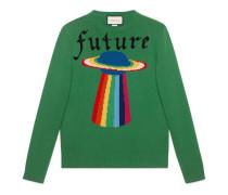 Pullover aus Wolle mit Planeten-Intarsie