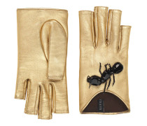 Handschuhe aus Metallicleder mit Bestickung