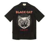 Bowling-Shirt aus Seide mit Schwarze Katze-Print