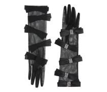 Handschuhe aus Tüll mit Kristallschleifen