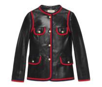 Jacke aus Leder mit Band-Besatz