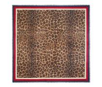 Halstuch aus Modal und Seidensablé mit Leopardprint