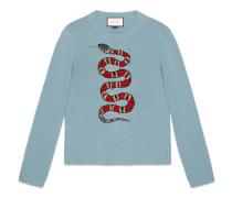 Pullover aus Wolljacquard mit Schlange