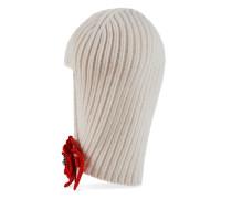 Mütze aus Wolle mit Kristall-Blume