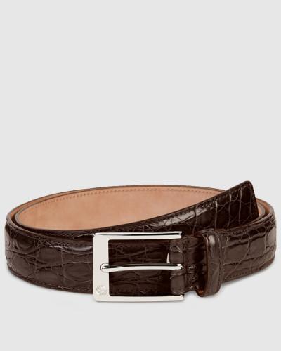 gucci herren g rtel aus krokodilleder mit quadratischer schnalle reduziert. Black Bedroom Furniture Sets. Home Design Ideas