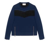 Pullover aus Baumwolle mit Fransen und Nieten