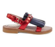 Sandale aus metallischem Leder mit Horsebit