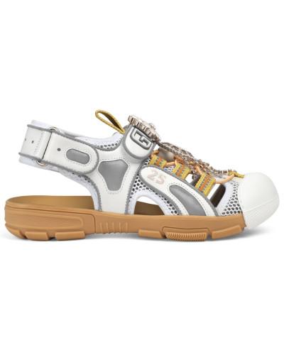 Damen-Sandale aus Leder mit Kristallen