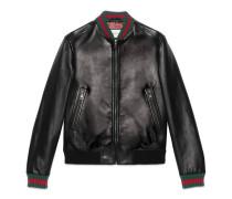 Jacke aus Leder mit Webstreifen
