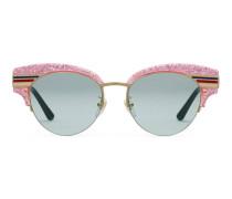 Katzenaugen-Sonnenbrille aus glitzerndem Acetat